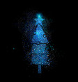 christmas pine tree shape in blue glitter vector image vector image