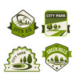 City park green icons set