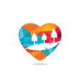 countryside in shape heart vector image vector image