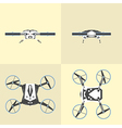 Different views of drone on isolated background vector image vector image