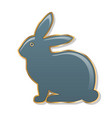 easter bunny blue bunny in a golden frame gloss vector image