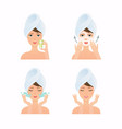 face care routine girl have a mask and care
