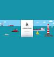 flat marine transport background vector image vector image