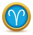 Gold Aries icon vector image vector image