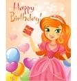 Happy Birthday Princess greeting card vector image