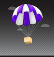 icon of package flying on parachute isolated on vector image