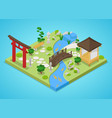 japanese garden with bridge and trees isometric