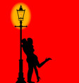 kissing under the lamppost vector image vector image