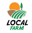 local farm field sun white background image vector image