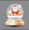 magic christmas crystal ball with santa claus vector image