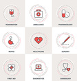 Modern Medicine Line Icons Set Ambulance vector image vector image