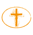 Orange grunge cross stamp symbol vector image