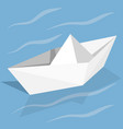 origami paper ship on blue background vector image vector image