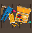 packed suitcase for summer holiday vector image vector image