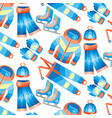 pattern of winter clothes and accessories vector image vector image