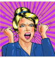 pop art excited woman with hands up vector image vector image