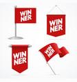 realistic 3d winner concept flag banner set vector image vector image