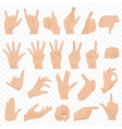 Realistic human hands icons and symbols set Emoji vector image vector image