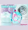 realistic promo banner of liquid detergent vector image vector image
