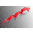 red arrow step on gray white grid design business vector image