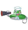 sailor with binocular beach hat isolated in the vector image vector image