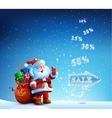 Santa Claus with a bag of gifts in hurry to sell vector image vector image