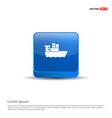 sea ship icon - 3d blue button vector image