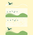 set of banners with flying geese or ducks vector image