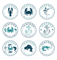 set of seafood Labels in retro style vector image vector image