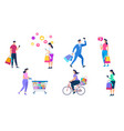 shopping people set isolated on white background vector image vector image