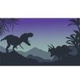 Silhouette of ankylosaurus and tyrannosaurus vector image vector image