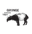 silhouette tapir in grunge design style animal vector image vector image