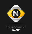 silver letter n logo in the silver-yellow square vector image vector image