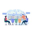 social networking young people in internet cafe vector image