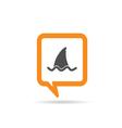 square orange speech bubble with shark icon vector image