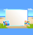 square photo frame with beautiful sandy beach vector image vector image