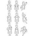 super nurse asian female line art vector image