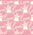 valentines day seamless pattern with cute rabbits vector image vector image