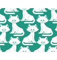 white cat seamless pattern pet ornament animal vector image