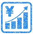 yen growth trend framed stamp vector image vector image