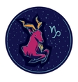Zodiac sign Capricorn on night starry background vector image vector image