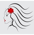 Girl with red flower and red lips vector image