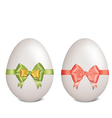 White easter eggs with bows and ribbons vector image