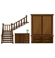 A stair and wooden furnitures vector image vector image