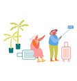 aged female couple making selfie in exotic country vector image vector image