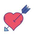 arrow inside romantic heart design vector image vector image