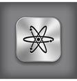 Atom icon - metal app button vector image vector image