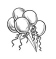 balloons with curled ribbon monochrome vector image vector image
