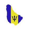 Barbados map with flag
