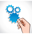 blue gear sticker in hand vector image vector image